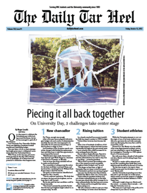 The Daily Tar Heel Front Page: Oct. 12, 2012