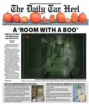 The Daily Tar Heel Front Page: Oct. 31, 2012