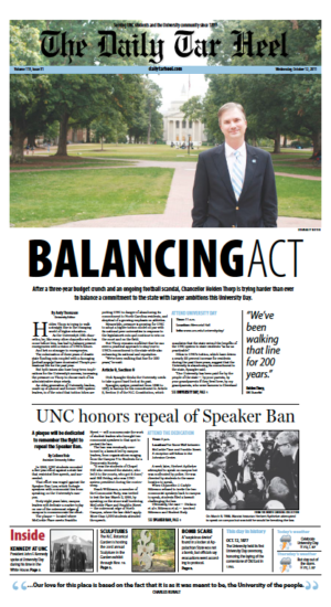 The Daily Tar Heel Front Page: October, 12, 2011