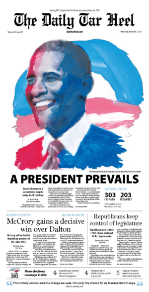 The Daily Tar Heel Front Page: NOV. 07, 2012