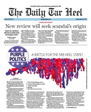 The Daily Tar Heel Front Page: AUG. 20, 2012